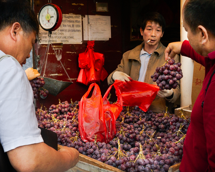 Selling grapes in Chinatown